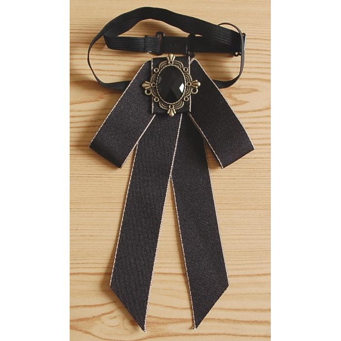 Cravate Noire Noeud Papillon Médaillon Old West Country Western Cowboy