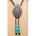 Bolo Tie Entrelacs Embouts Turquoise Country Western