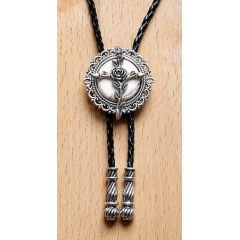 Bolo Tie Rose - Howlite Blanche Country Western