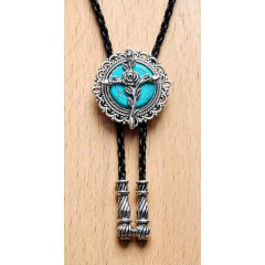 Bolo Tie Rose - Howlite Turquoise Country Western