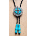 Bolo Tie Rose - Howlite Turquoise - Embouts Turquoise Country Western