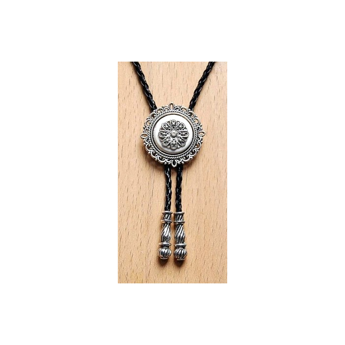 Bolo Tie Rosace - Howlite Blanche Country Western
