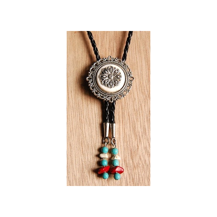 Bolo Tie Cameo Rosace Turquoise Howlite Blanche Country Western