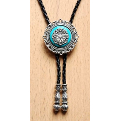 Bolo Tie Rosace - Howlite Turquoise Country Western