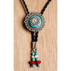 Bolo Tie Cameo Rosace Turquoise Howlite Country Western