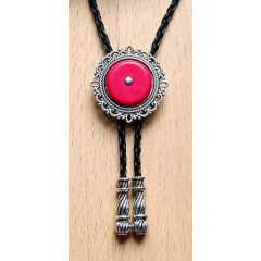 Bolo Tie Cameo - Howlite Rouge Country Western