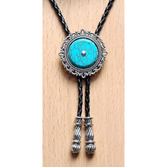 Bolo Tie Cameo - Howlite Turquoise Country Western