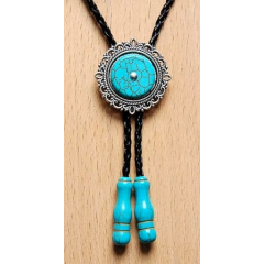 Bolo Tie Cameo - Howlite Turquoise - Embouts Turquoise Country Western