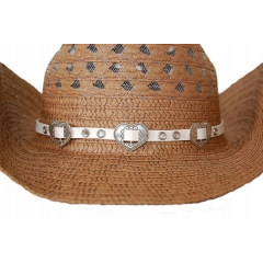 Bourdalou Concho Coeur et Strass - Blanc - Country Western