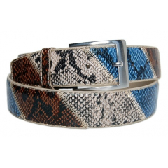 Ceinture Country Serpent Bleu / Marron