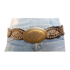 Ceinture Femme Marron Country Fleurs Country Western