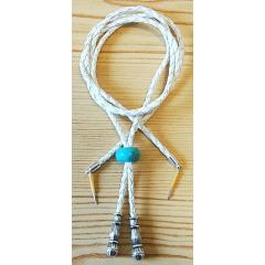 Cordon Jugulaire - Perle Turquoise Howlite - Blanc - Country Western