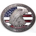 Boucle de Ceinture Drapeau USA Tête d'Aigle Country Western