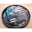 Boucle de Ceinture Tête Aigle USA Fond Noir Country Western