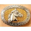 Boucle de Ceinture Tête de Cheval Fond Doré Country Western