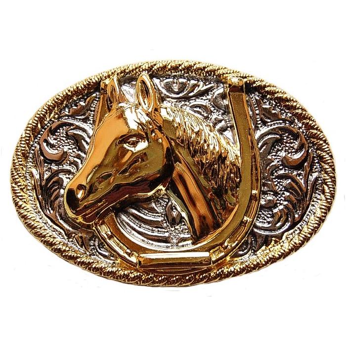 Boucle de Ceinture Fer et Tête Cheval doré Country Western 36e7ec10625