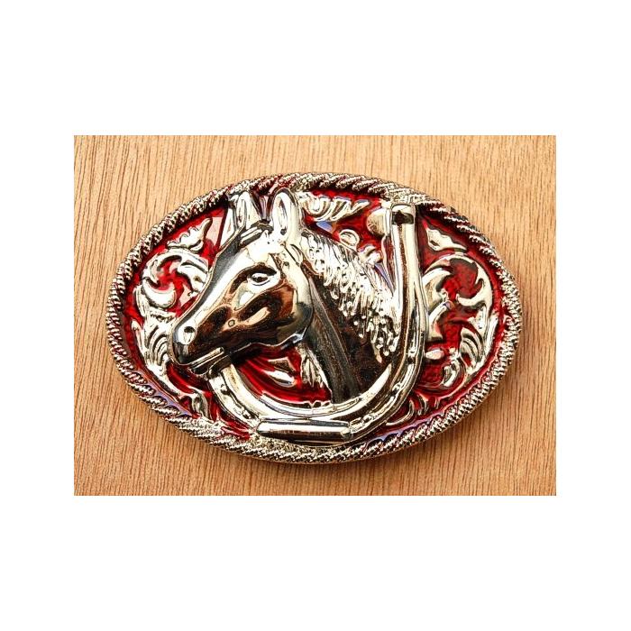 Boucle de Ceinture Fer et Tête Cheval Rouge Country Western