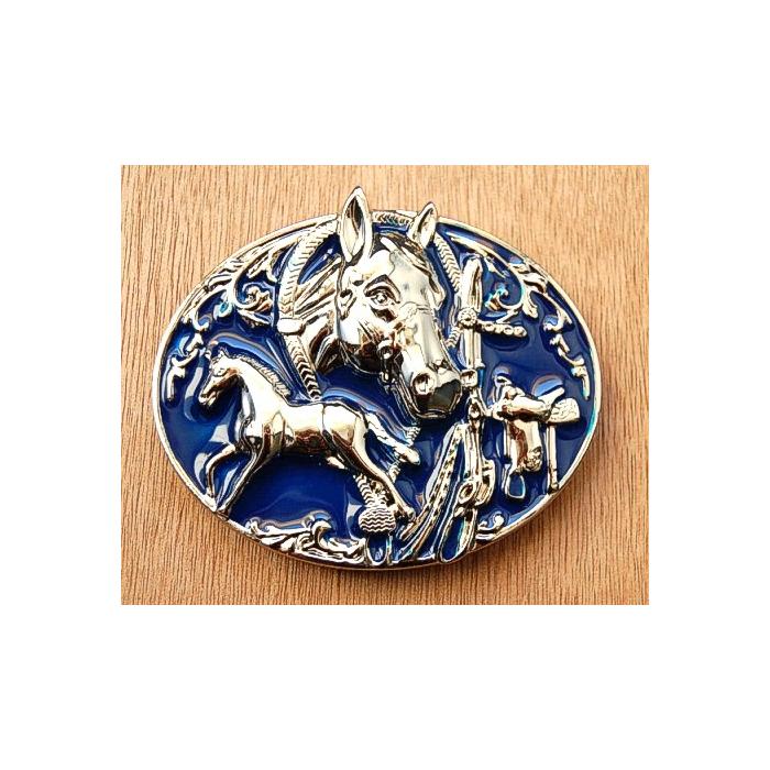 Boucle de Ceinture Cheval Bleu Country Western