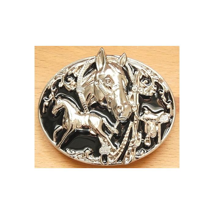 Boucle de Ceinture Cheval Noir Country Western