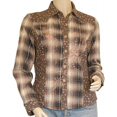Chemise Country Western Carreaux Broderies Marron