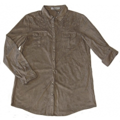 Chemise Aspect Daim - Coupe Classique - Chocolat - Country Western