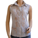 Chemise Femme Country Western Sans Manches Broderies Beige