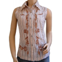 Chemise Femme Country Western Sans Manches Broderies Marron