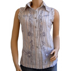 Chemise Femme Country Western Sans Manches Broderies Gris