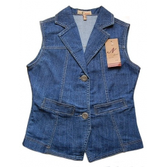 Veste Gilet Jeans Country Western Sans Manches