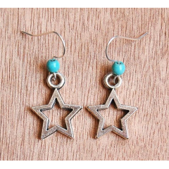 Boucles d'oreilles Etoile Star Turquoise Country Western