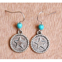 Boucle d'oreilles Petite Etoile Turquoise Country Western