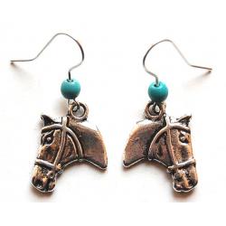 Boucles d'oreilles Tête de Cheval Turquoise Country Western