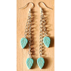 Boucle d'oreilles Longues Plumes Turquoise Country Western