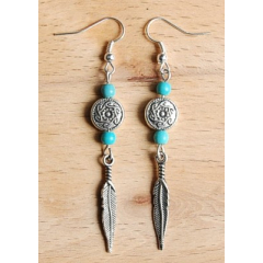 Boucles d'oreilles Longues Plume Turquoise Country Western