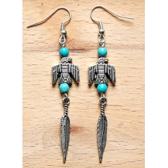 Boucles d'oreilles Longues Aigle Turquoise Country Western
