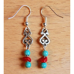 Boucle d'oreilles Pendant Turquoise Howlite Country Western