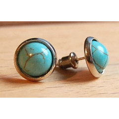 Boucles d'oreilles Clous Turquoise Howlite Country Western