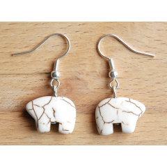 Boucles d'oreilles Howlite Ours Zuni Blanc Country Western