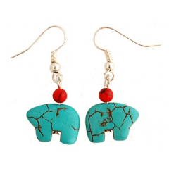 Boucles d'oreilles Ours Turquoise Zuni Country Western