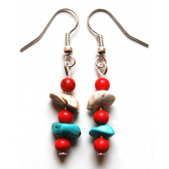 Boucles d'oreilles Perles Turquoise Rouge Country Western