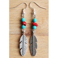 Boucles d'oreilles Turquoise Grand Aigle Country Western