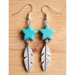 Boucles d'oreilles Etoile Turquoise et Plume Country Western