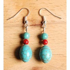 Boucles d'oreilles Perle Olive Turquoise Country Western