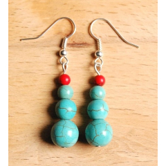 Boucles d'oreilles Perles Rondes Turquoise Country Western