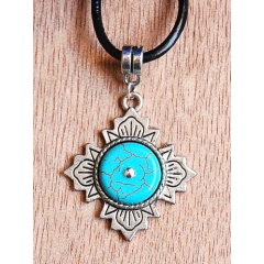 Collier Pendentif Flower Turquoise Country Western