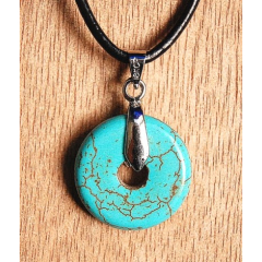 Collier Pendentif Anneau Turquoise Country Westen