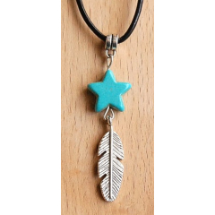 Collier Pendentif Etoile Turquoise Howlite et Plume Country Western