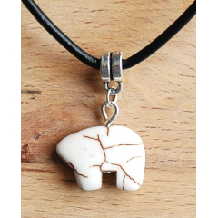 Collier Pendentif Howlite Ours Zuni Blanc Country Western