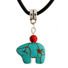 Collier Pendentif Turquoise Ours Zuni Country Western