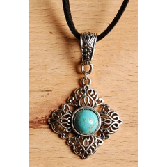 Collier Pendentif Filigrane Turquoise Country Western